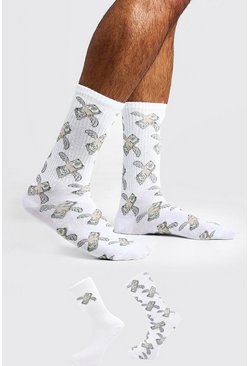 Mens White 2 Pack Dollar Bill Socks