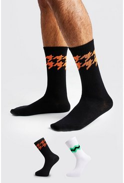 Mens Multi 2 Pack Neon Jacquard Socks