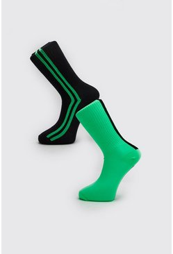 Mens Neon-green 2 Pack Neon Tube Socks