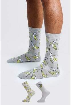 Mens Multi 2 Pack Banana Socks