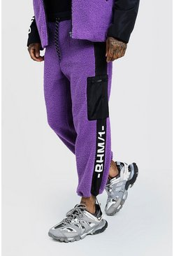 Mens Purple MAN Design Borg Joggers With Print & Panel Detail