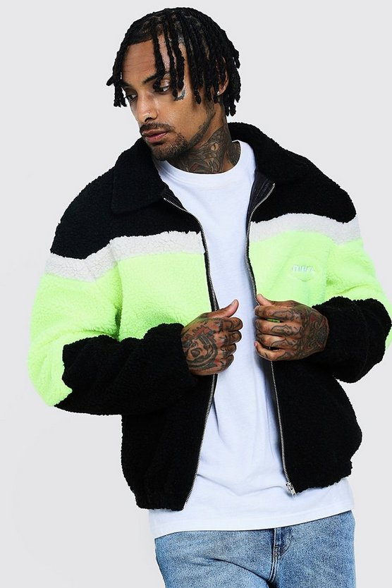 Mens Neon-yellow MAN Borg Jacket With Colour Block Detail