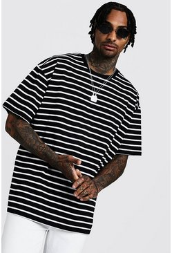 Mens Black Oversized Stripe T-Shirt