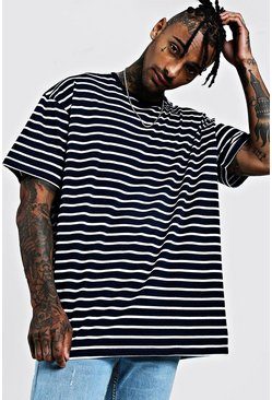 Navy Oversized Stripe T-Shirt