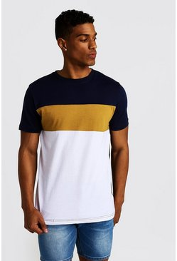 Mens Mustard Colour Block T-Shirt