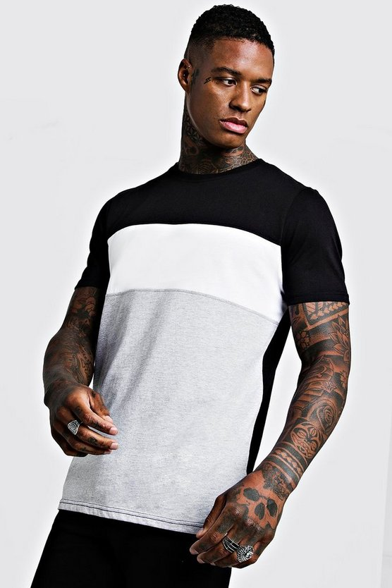 Mens White Colour Block T-Shirt