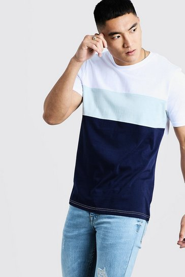 Mens Pale blue Colour Block T-Shirt