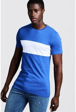 Muscle-Fit Longline-T-Shirt im Colorblock-Design, Kobaltblau, Herren