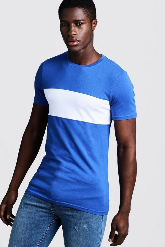 Mens Cobalt Muscle Fit Colour Block Longline Tee