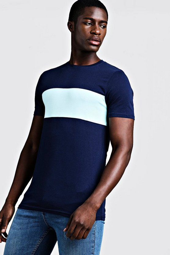 Mens Navy Muscle Fit Colour Block Longline Tee
