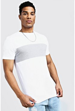 White Lång t-shirt med blockfärger och muscle fit