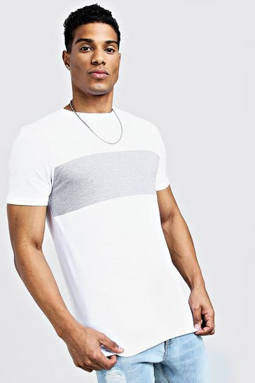 Mens White Muscle Fit Colour Block Longline Tee