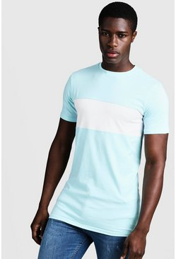 Muscle-Fit Longline-T-Shirt im Colorblock-Design, Aquablau, Herren