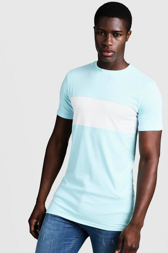 Mens Aqua Muscle Fit Longline Colour Block Tee