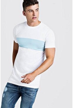 Camiseta marcada larga de color liso, Blanco, Hombre