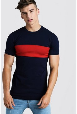 T-shirt long colour block Muscle Fit, Marine, Homme