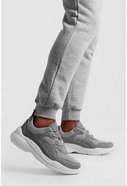 Grey Multi Panel Sneaker With Chunky Sole