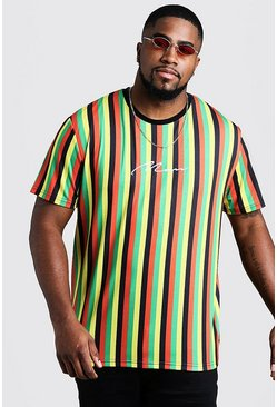 Mens Red Big & Tall MAN Embroidered Stripe T-Shirt
