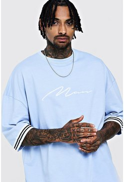 Mens Light blue MAN Signature Oversized Drop Shoulder Tape T-Shirt
