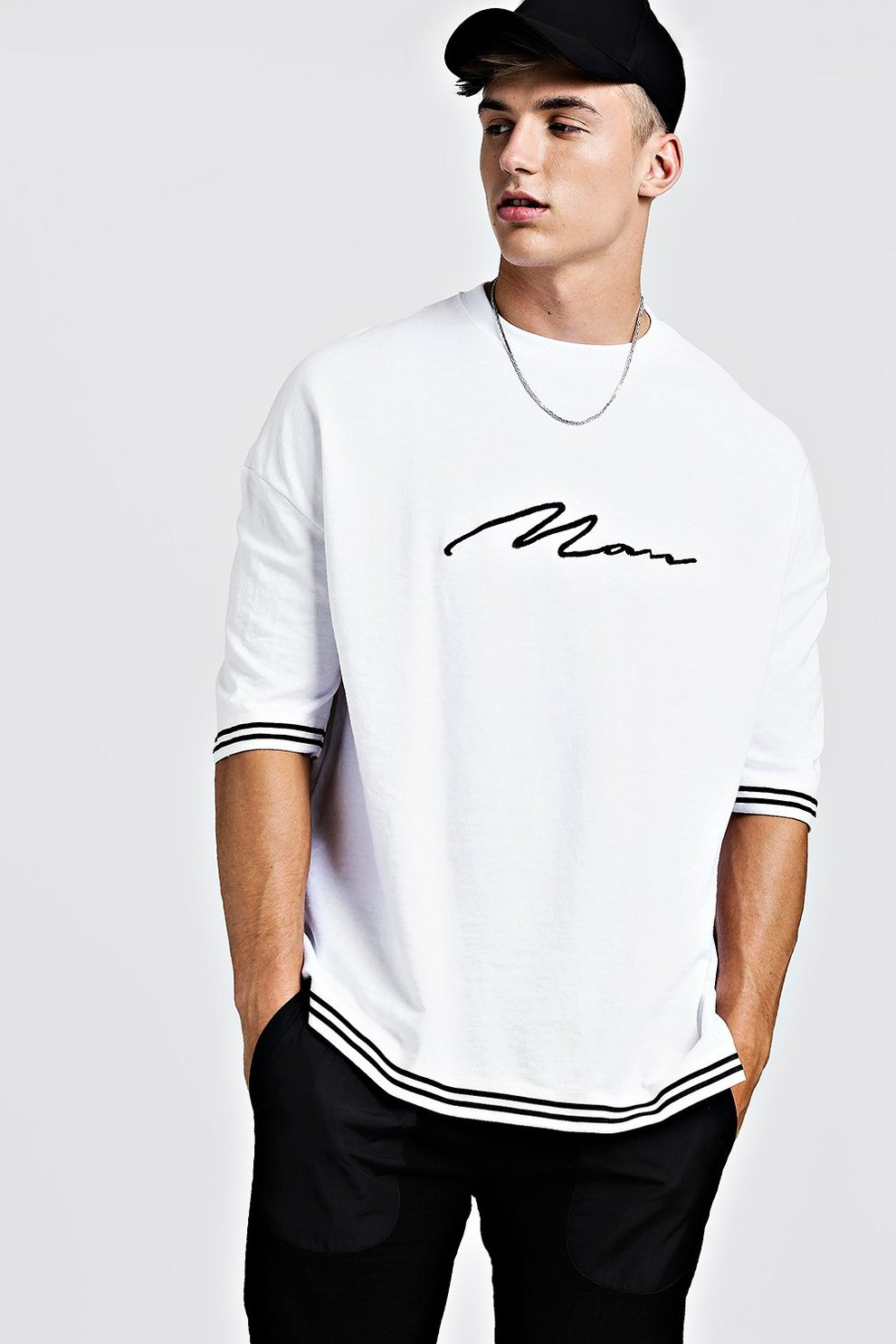 583aed3d2 Mens White MAN Signature Oversized Drop Shoulder Tape T-Shirt