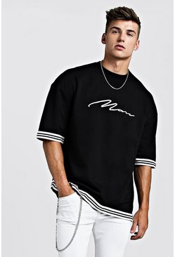 Mens Black MAN Signature Oversized Drop Shoulder Tape T-Shirt
