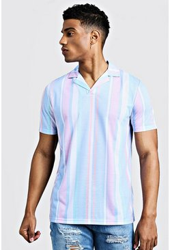 Mens Multi Striped Revere Collar Polo