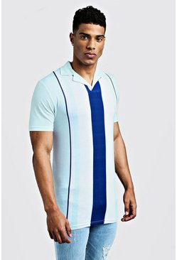 Mint Muscle Fit Striped Revere Collar Polo