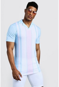 Mens Aqua Muscle Fit Striped Revere Collar Polo