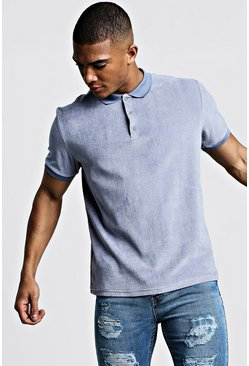Mens Slate Velour Polo With Ribbed Collar