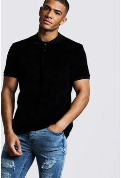 Mens Black Velour Polo With Ribbed Collar