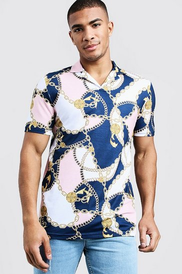 Mens Light pink Muscle Fit Baroque Print Revere Collar Polo