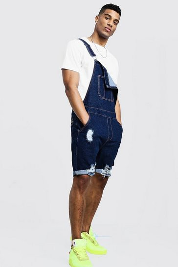 Mens Indigo Slim Fit Short Dungarees With Distressing