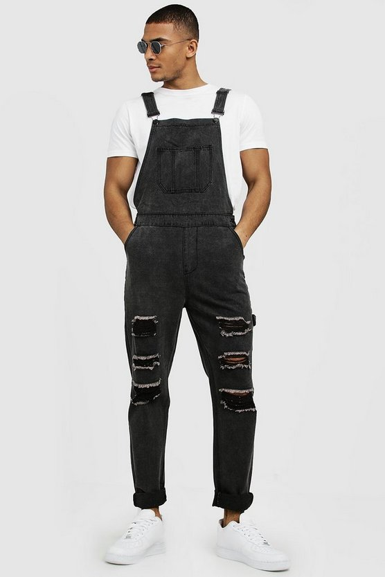 Mens Charcoal Slim Fit Denim Dungarees With Distressing