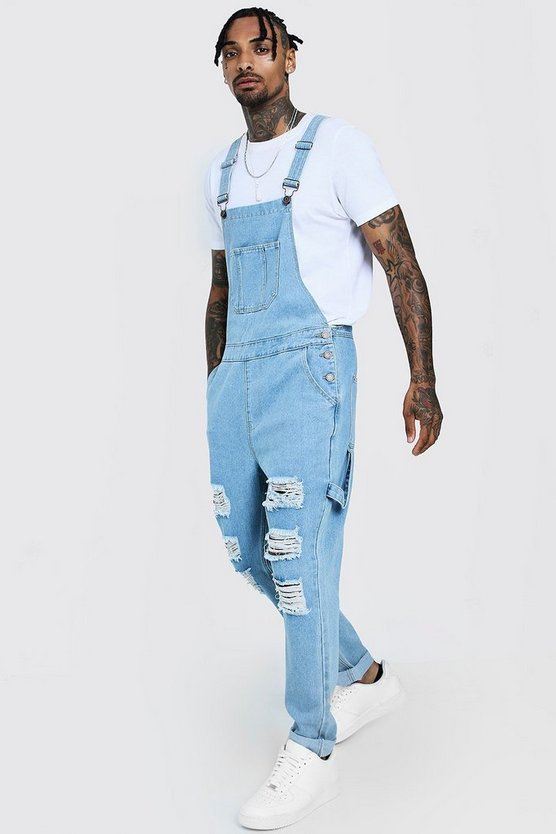 Vintage wash Slim Fit Denim Dungarees With Distressing
