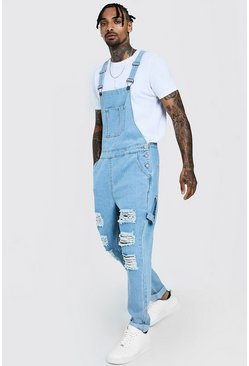 Mens Vintage wash Slim Fit Denim Dungarees With Distressing