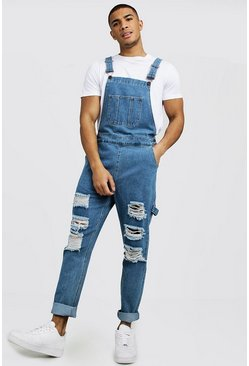 Mens Mid blue Slim Fit Denim Dungarees With Distressing