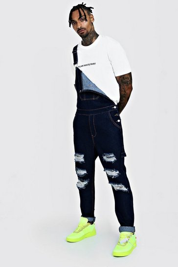 Indigo Slim Fit Denim Dungarees With Distressing