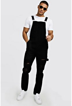 Mens Black Slim Fit Denim Dungarees With Distressing