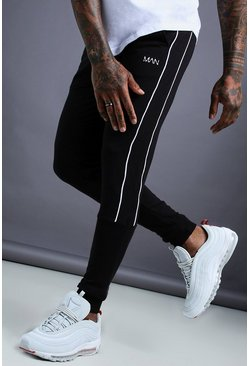 Herr Black MAN Tapered Jersey Jogger With Side Piping