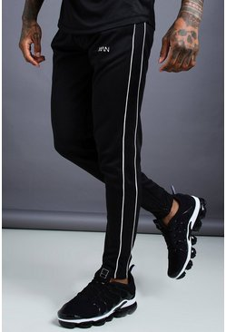 Black MAN Skinny Joggers With Ankle Zips