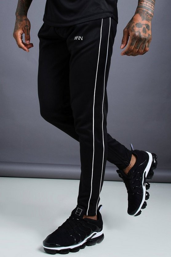 Mens Black MAN Skinny Joggers With Ankle Zips