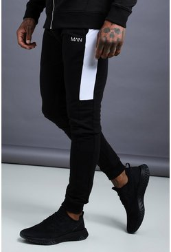 Herr Black MAN Skinny Jersey Jogger With Side Panels