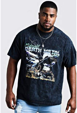 Mens Washed black Big & Tall Death Metal Printed T-Shirt