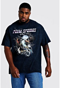 Mens Washed black Big & Tall Palm Springs Printed T-Shirt