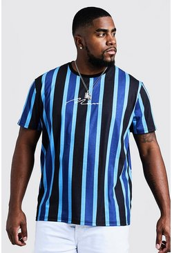 Mens Cobalt Big & Tall MAN Embroidered Stripe T-Shirt