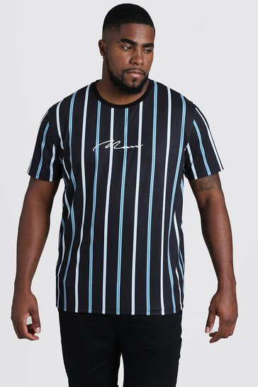 Mens Teal Big & Tall MAN Embroidered Stripe T-Shirt