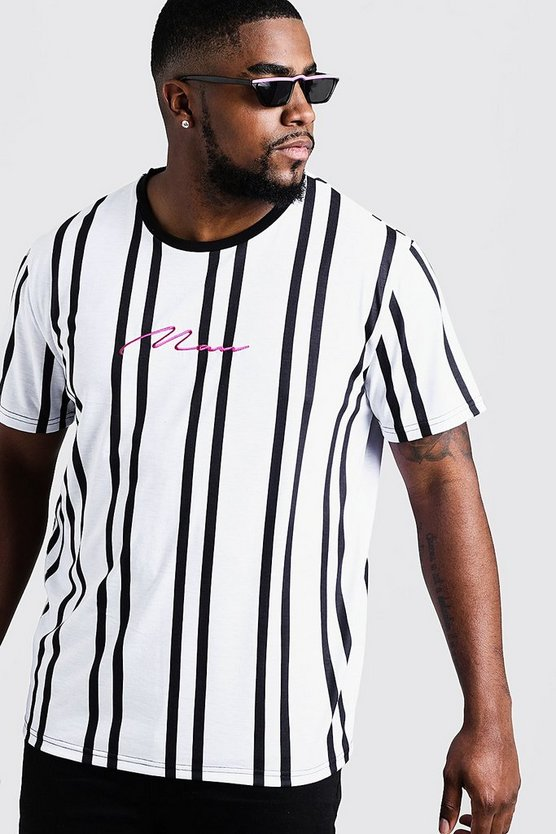 Mens White Big & Tall MAN Embroidery Stripe T-Shirt
