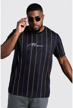 Camiseta a rayas con bordado 3D MAN Big & Tall, Negro, Hombre