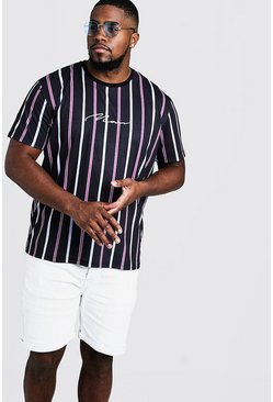 Mens Purple Big & Tall MAN Embroidered Stripe T-Shirt