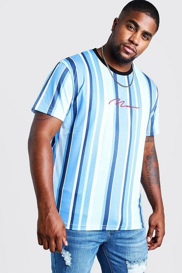 Mens Blue Big & Tall MAN Embroidered Stripe T-Shirt